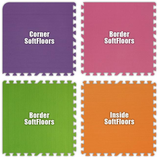 Alessco SFPEPKLGOE2034 SoftFloors -Purple- Pink- Lime Green- Orange -20  x 34  Set