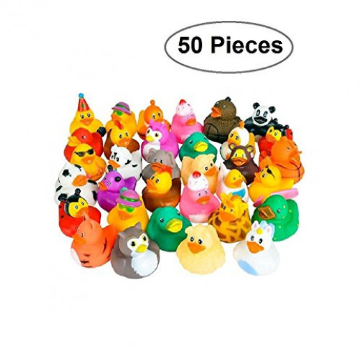 Rubber Ducks -50 Assorted Pieces-2 Inch For Kids, Party Favors, Gift, Birthdays, Baby Showers, Baby Bath Toys,... by Kidsco