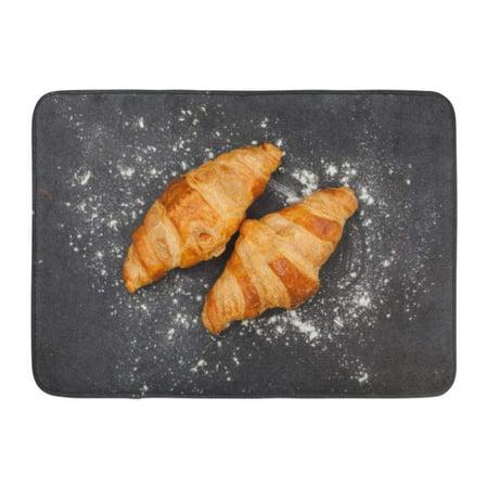 GODPOK Stone Brown Flour Fresh Croissant on Black Slate Top View Breakfast Table Rug Doormat Bath Mat 23.6x15.7 inch