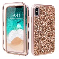 iPhone XS Max Case, Dteck Shockproof Hybrid 3 in 1 Glitter PC Soft Rubber Back Protective Cover For Apple iPhone XS Max, Black