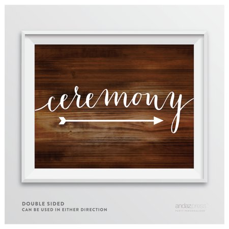 Ceremony Rustic Wood Wedding Party Directional Signs, Double-Sided](Wedding Ceremony Signs)