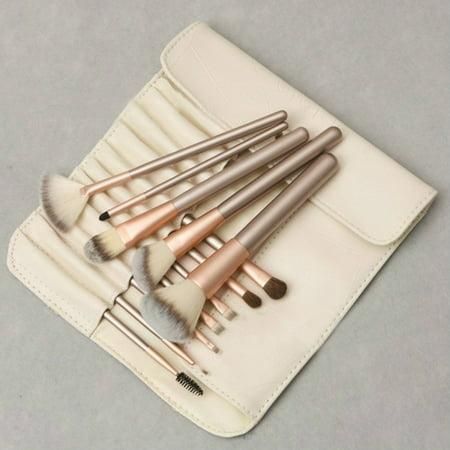 - U-MAX 12Pcs Makeup Brush Set Beige Foundation Professional Make Up Brushes Eye Shadow Powder Eyeliner Brush Set Cosmetic Bag