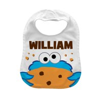 Personalized Sesame Street Baby Bib, Hungry Cookie Monster, White