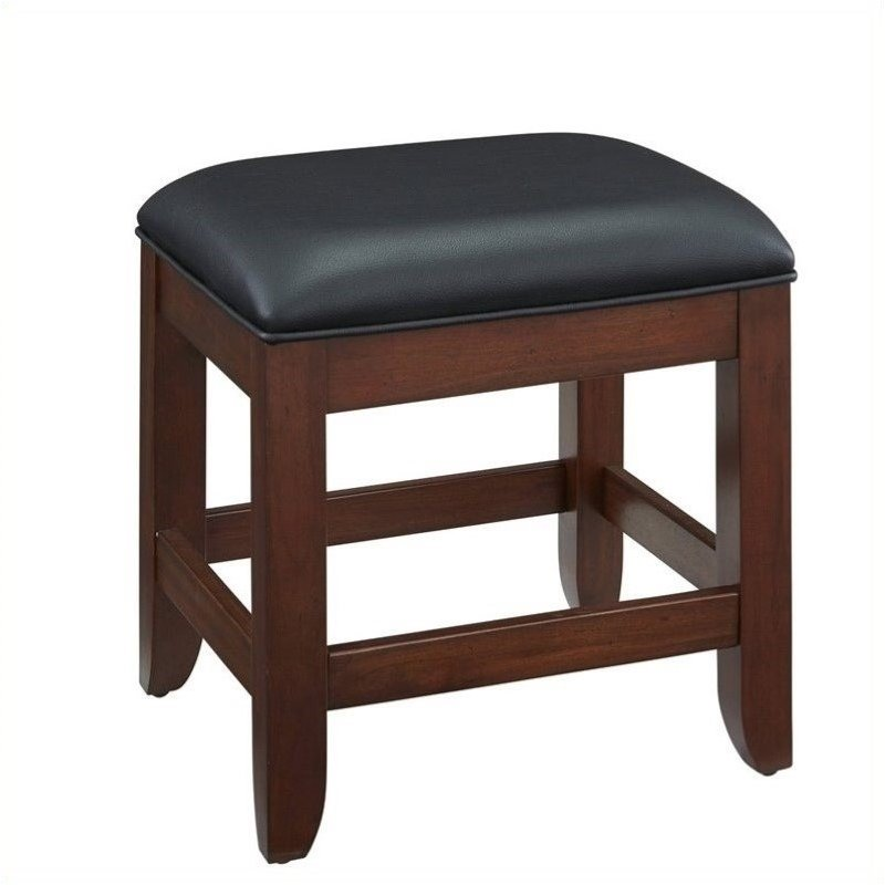 Bowery Hill Faux Leather Vanity Bench in Classic Cherry by Bowery Hill