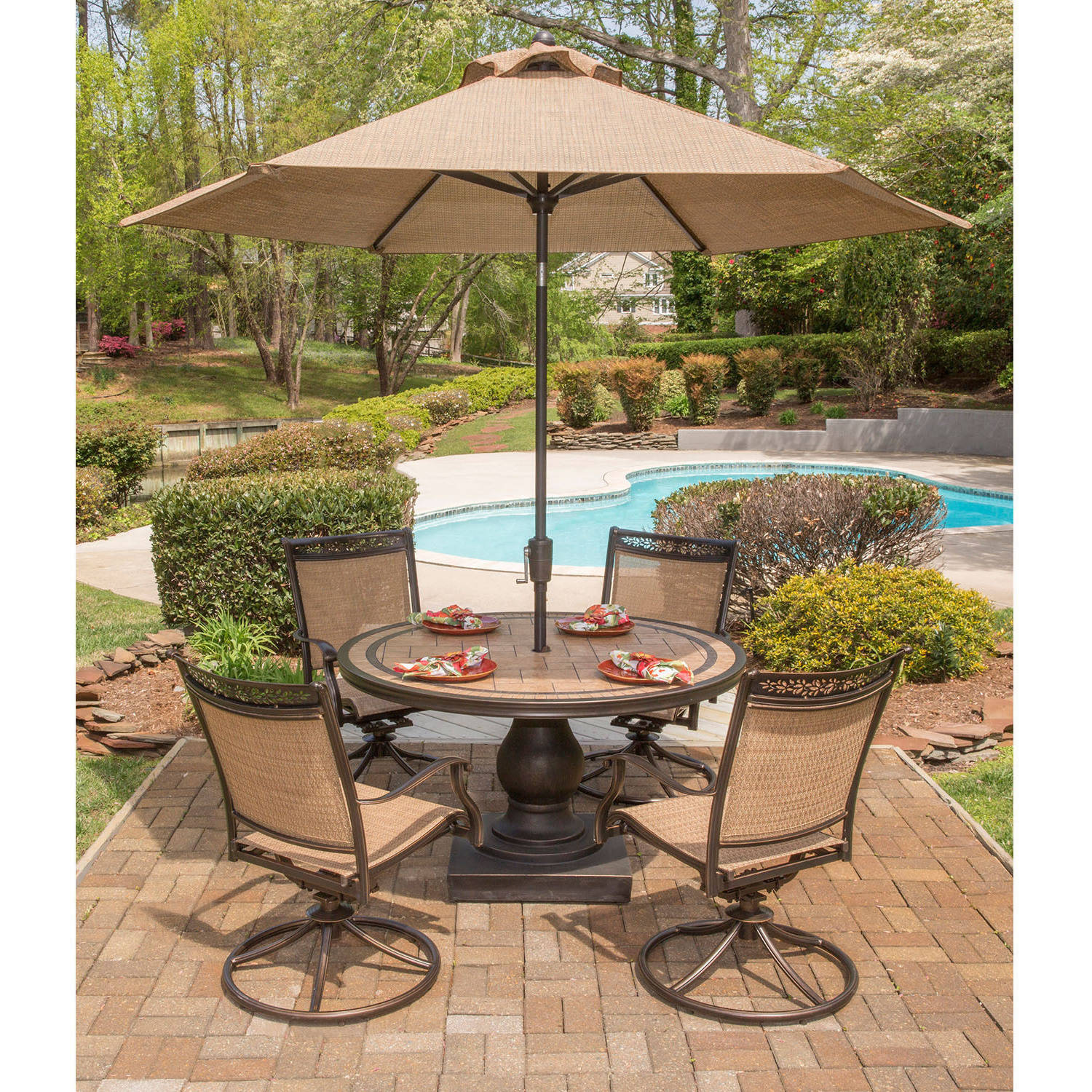 Hanover Fontana 5 Piece Outdoor Dining Set With Swivel Rockers, Tile Top  Table