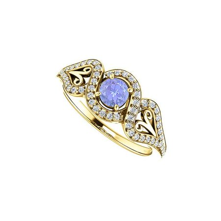 0.75 CT 18K Yellow Gold Vermeil Tanzanite Cubic Zirconia Crossover Halo Ring, Size 6