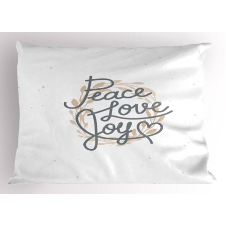 Joy Pillow Sham Peace Love and Joy Heart Shape with Faded Wreath Pattern Background Ornamental Print, Decorative Standard Size Printed Pillowcase, 26 X 20 Inches, Beige Grey, by Ambesonne ()