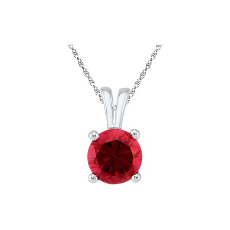 Lab Created Solitaire Red Ruby 1.30 Carat (ctw) 10K White Gold Pendant Necklace with Chain