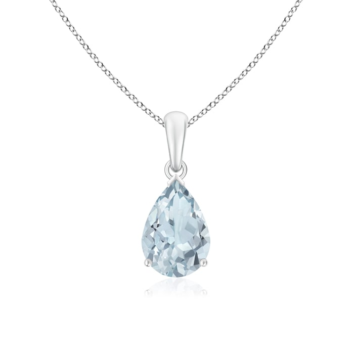 March Birthstone Pendant Necklaces Pear-Shaped Aquamarine Solitaire Pendant in Silver (10x7mm Aquamarine)... by Angara.com