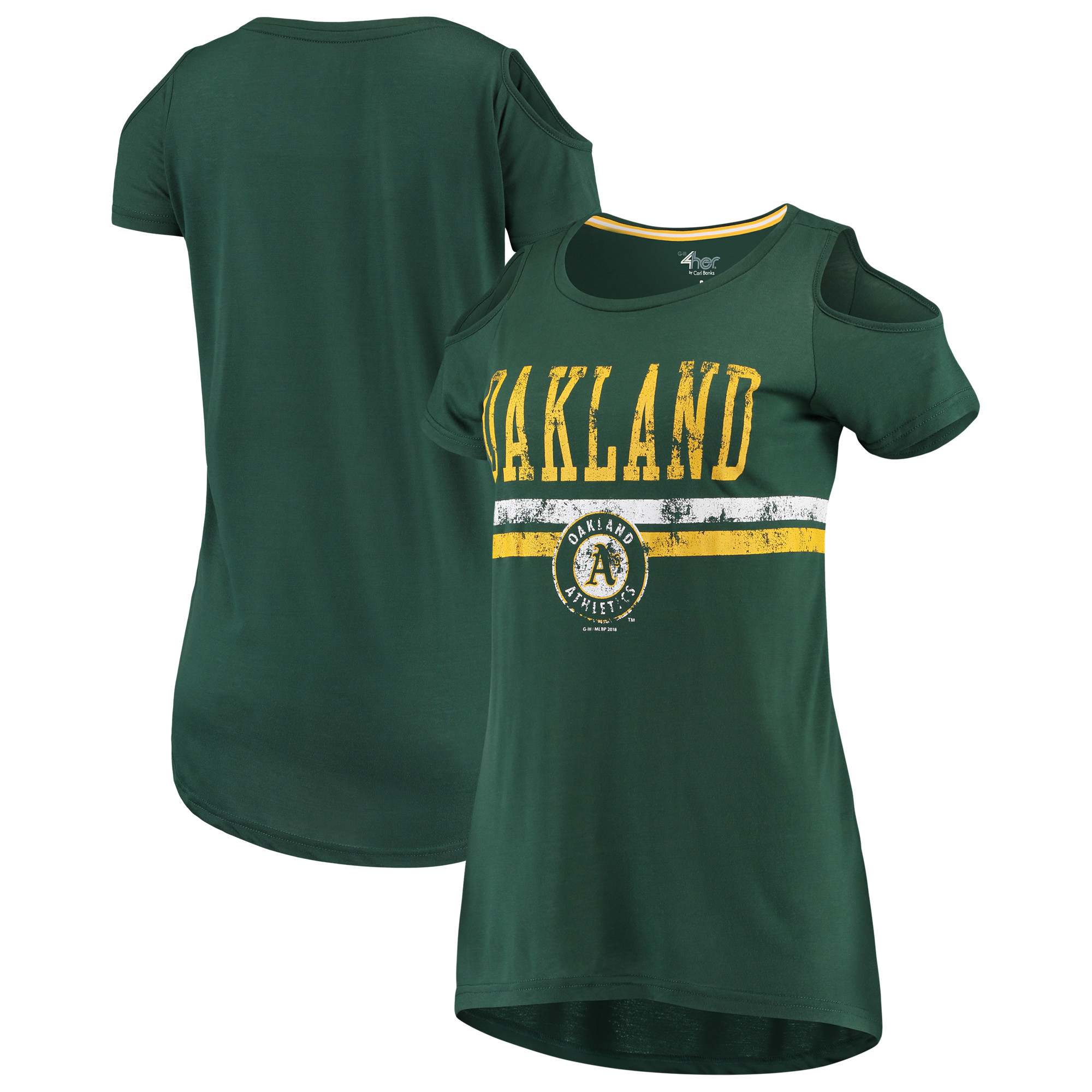 Oakland Athletics G-III 4Her by Carl Banks Women's Clear the Bases Scoop Neck T-Shirt - Green