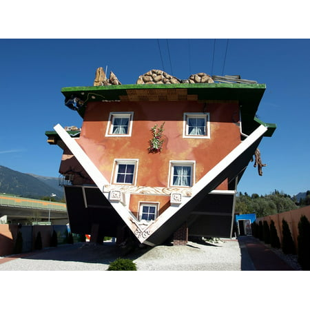 Canvas Print Places of Interest Tyrol House is Upside Down Stretched Canvas 10 x - Upside Down House
