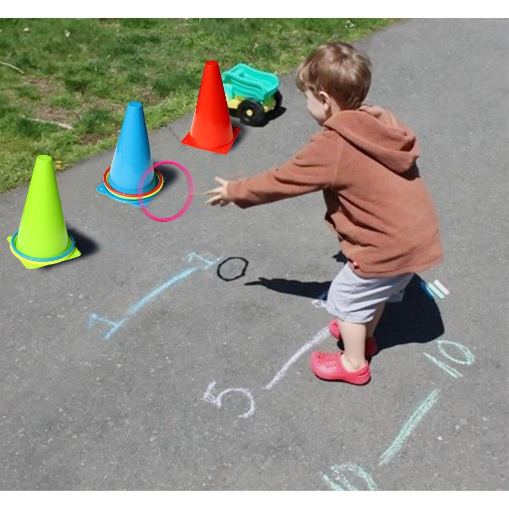 6 Barrels CHDHALTD Ring Toss Games for Kids Outdoor,Soft Plastic Cones Bean Bags Ring Toss Games,Set of Cone Kids Birthday Gift Indoor Family Toss Game,10 Circles
