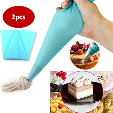 2pcs Reusable Silicone TPU Piping Bag Icing Piping Cream Pastry Bag Cake DIY Decorating Tool