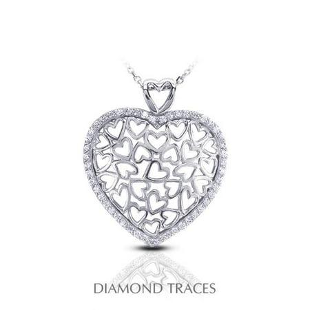 Diamond Traces 0.45 Carat Total Natural Diamonds 14K White Gold Pave Setting Heart Shape Fashion Pendant 14k Pave Diamond Heart Pendant