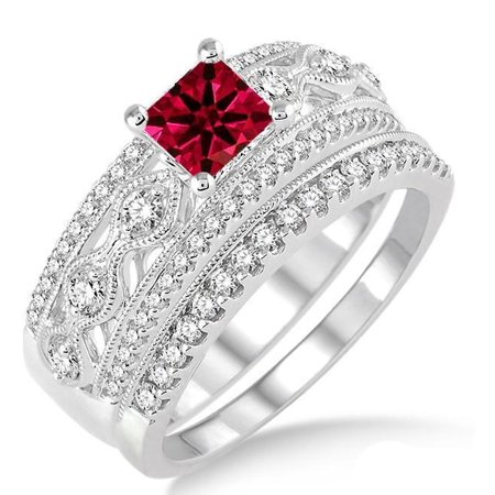 Ruby Wedding Set (2 Carat Princess Cut Real Ruby and Diamond Bridal Wedding Ring Set with Engagement Ring and Wedding Band in 18k Gold Over)