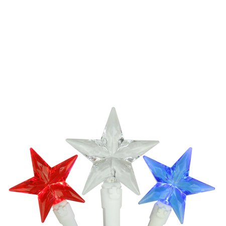 30 Patriotic Red, White and Blue LED Star String Lights - 7ft White Wire](Red White And Blue Star Lights)