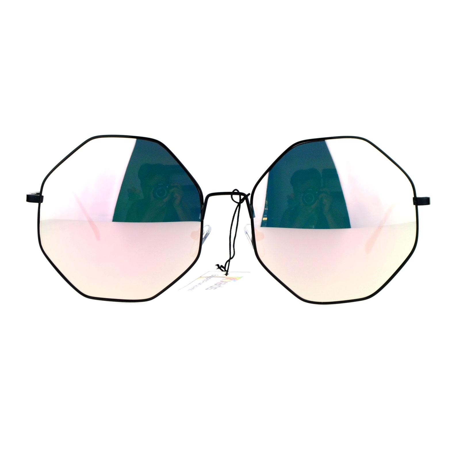 2a4ba820e6e SA106 - SA106 Pink Mirrored Mirror Lens Octagon Metal Oversize Womens  Sunglasses Gold - Walmart.com