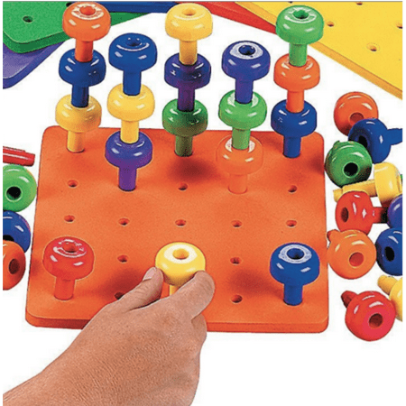 Motor Game - Stack it High Pegs and Foam Peg Board- 1 Board and 30 Pegs Occupational Therapy Autism Fine Motor Skills