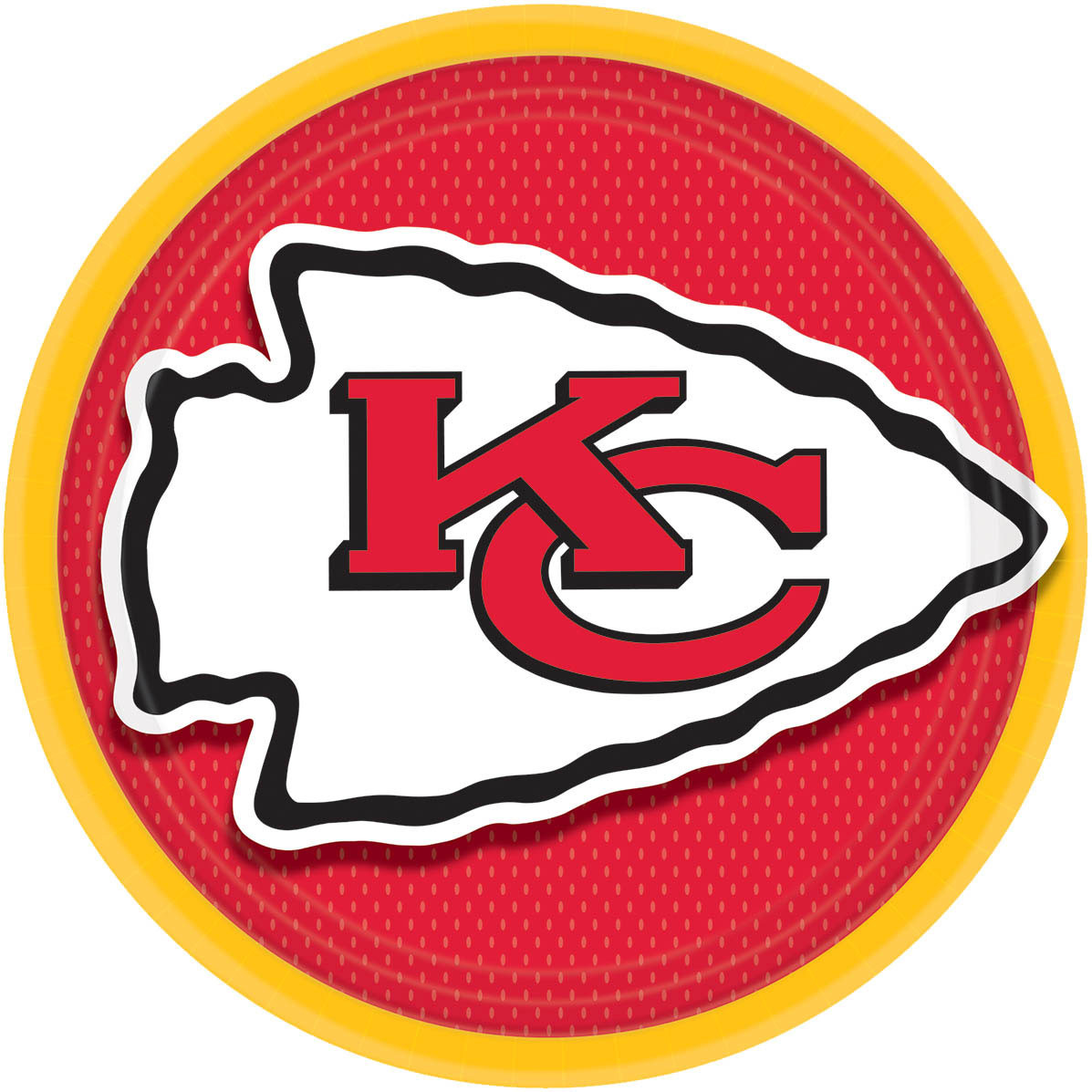 "Amscan Kansas City Chiefs NFL Football 9"" Dinner Plates, Red Yellow, 8 CT"