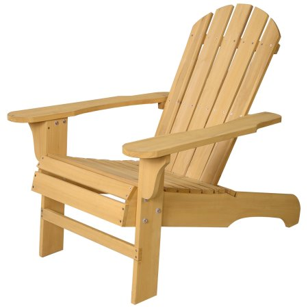Costway Outdoor Natural Fir Wood Adirondack Chair Patio Lawn Deck Garden Furniture by Costway