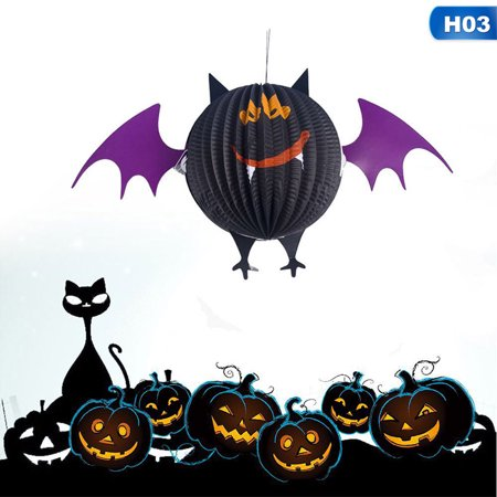 Making Paper Halloween Decorations (Fancyleo Upgraded Version New Halloween Spooky Spider Bat Paper Pendant Bar Ghost Atmosphere Layout Decoration Props for Home Decoration(None)