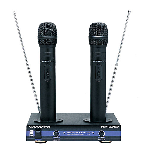 VocoPro VHF-3300 Dual Channel VHF Rechargable Wireless Mic System