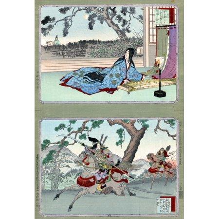 Tomoe Gozen (1157-1247) Njapanese Female Samurai Warrior Tomoe Gozen (Bottom Panel) With Another Warrior Possibly Yoshinaka On Horseback Top Panel Shows Kogo No Tsubone A Mistress Of Emperor Takakura 36 Custom Panel Bottom