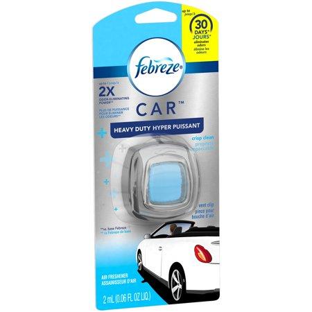 Febreze Car  Heavy Duty Crisp Clean Vent Clip Air Freshener 0 06 Fl  Oz  Carded Pack