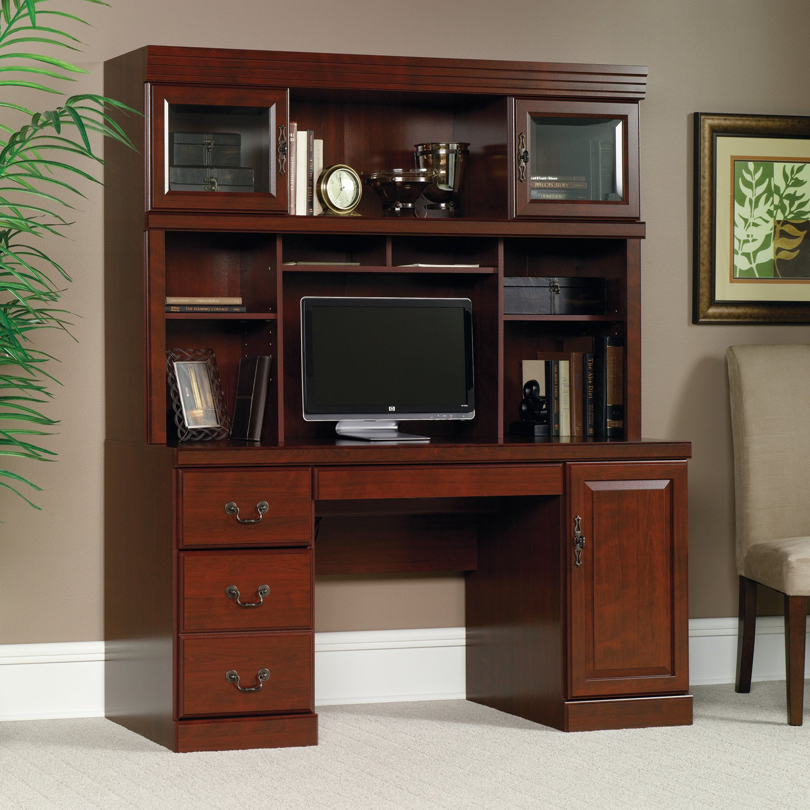 Computer Desk Hutch Clic Cherry Home Office Study Table Workstation Furniture