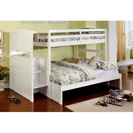 Appenzell Staircase Twin Full Bunk Bed In White W Step Drawers