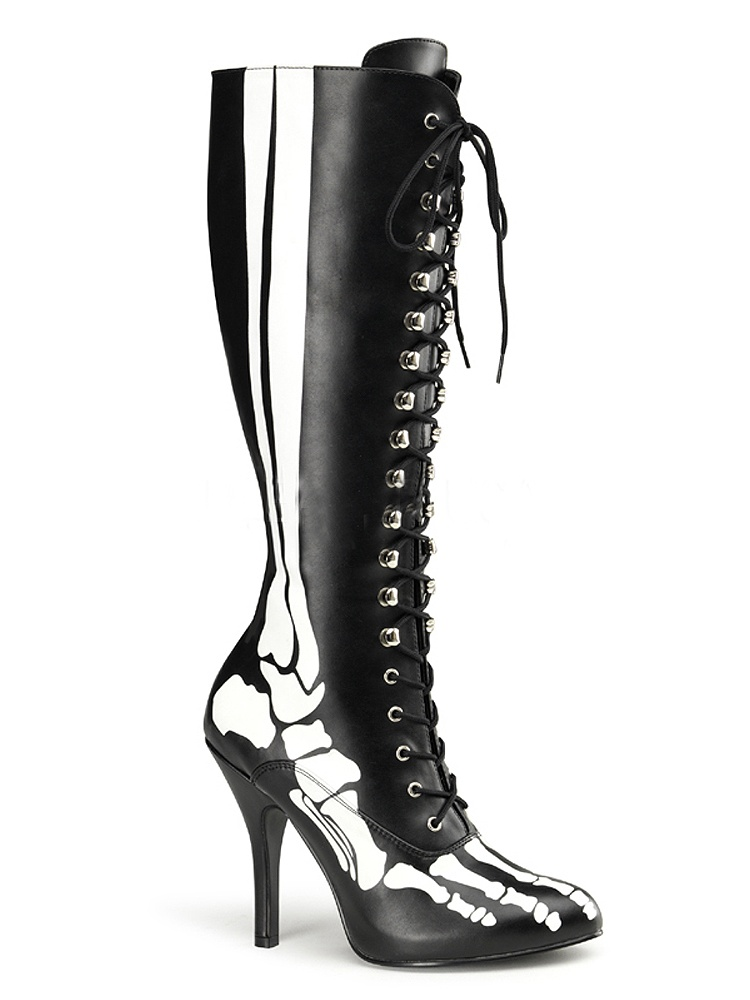 4 1/2 Inch Sexy Knee High Boots Skeleton Costume Boots :Man's/Woman's Black Bones: Different goods :Man's/Woman's Boots f2b98e