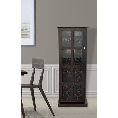 Atlantic Windowpane 24-Bottle Wine Cabinet, Espresso