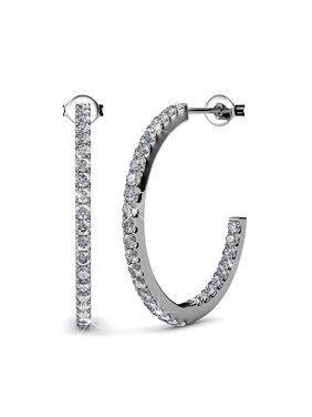 e45e46426 Product Image Cate & Chloe Rosalyn Beautiful 18k White Gold Hoop Earrings  w/ Swarovski Crystals, Sparkling