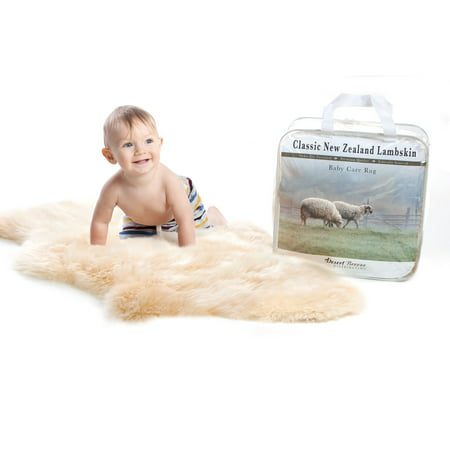 """New Zealand Classic Sheepskin, Ethically Sourced, Silky Soft Natural Length Wool, Un-Shorn Baby Care Rug, Large Size 34"""" to 36"""""""