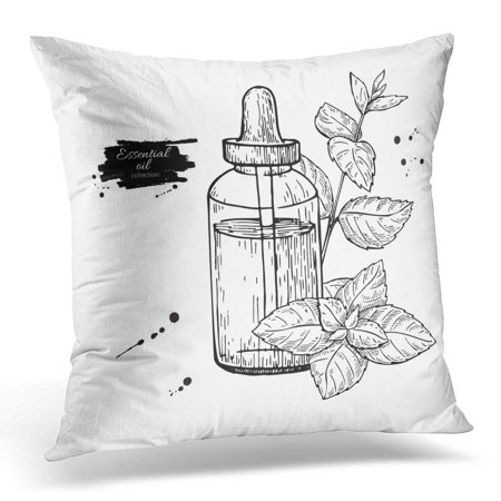 Alternative Treatments (ECCOT Mint Essential Oil Bottle and Peppermint Leaves Plant Drawing for Aromatherapy Treatment Alternative Pillowcase Pillow Cover Cushion Case 20x20 inch )
