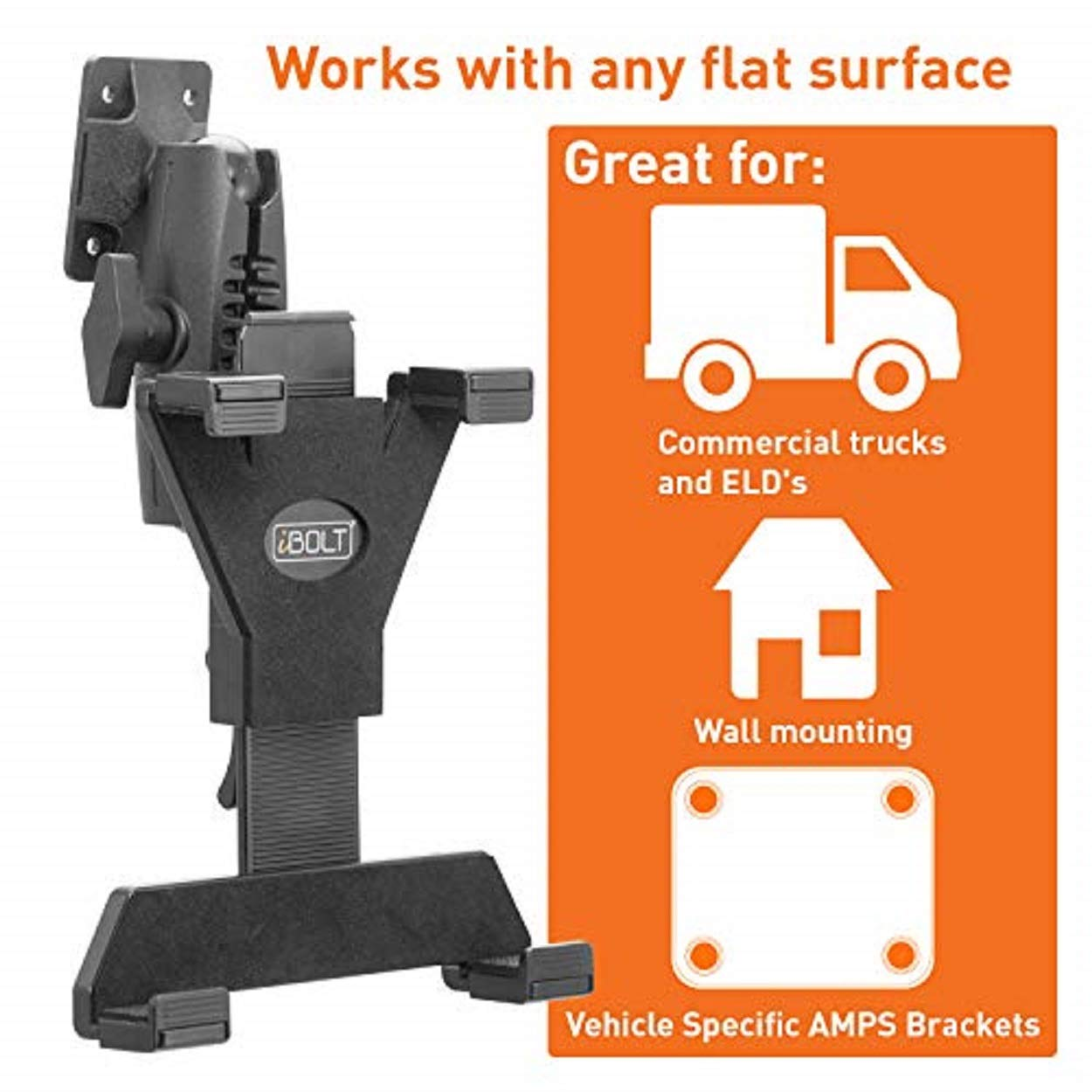 Heavy Duty Drill Base Mount for All 7-10 Tablets and Businesses Desks Countertops: Great for Commercial Vehicles Schools iBOLT TabDock AMPs iPad, Samsung Tab Homes for Cars Trucks