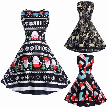 ca510461b5 Akoyovwerve - Women s Sleeveless Christmas Snowflake Printed Vintage  Cocktail Dress Floral A Line Fit Flare Dress Party Dress - Walmart.com