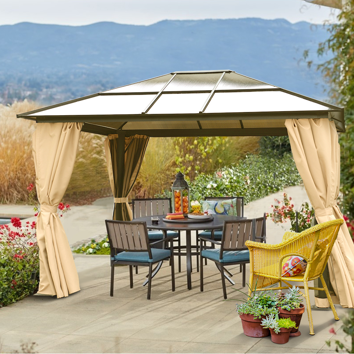 10' x 12' Outdoor Backyard Patio Gazebo Polycarbonate, with Panel Roof