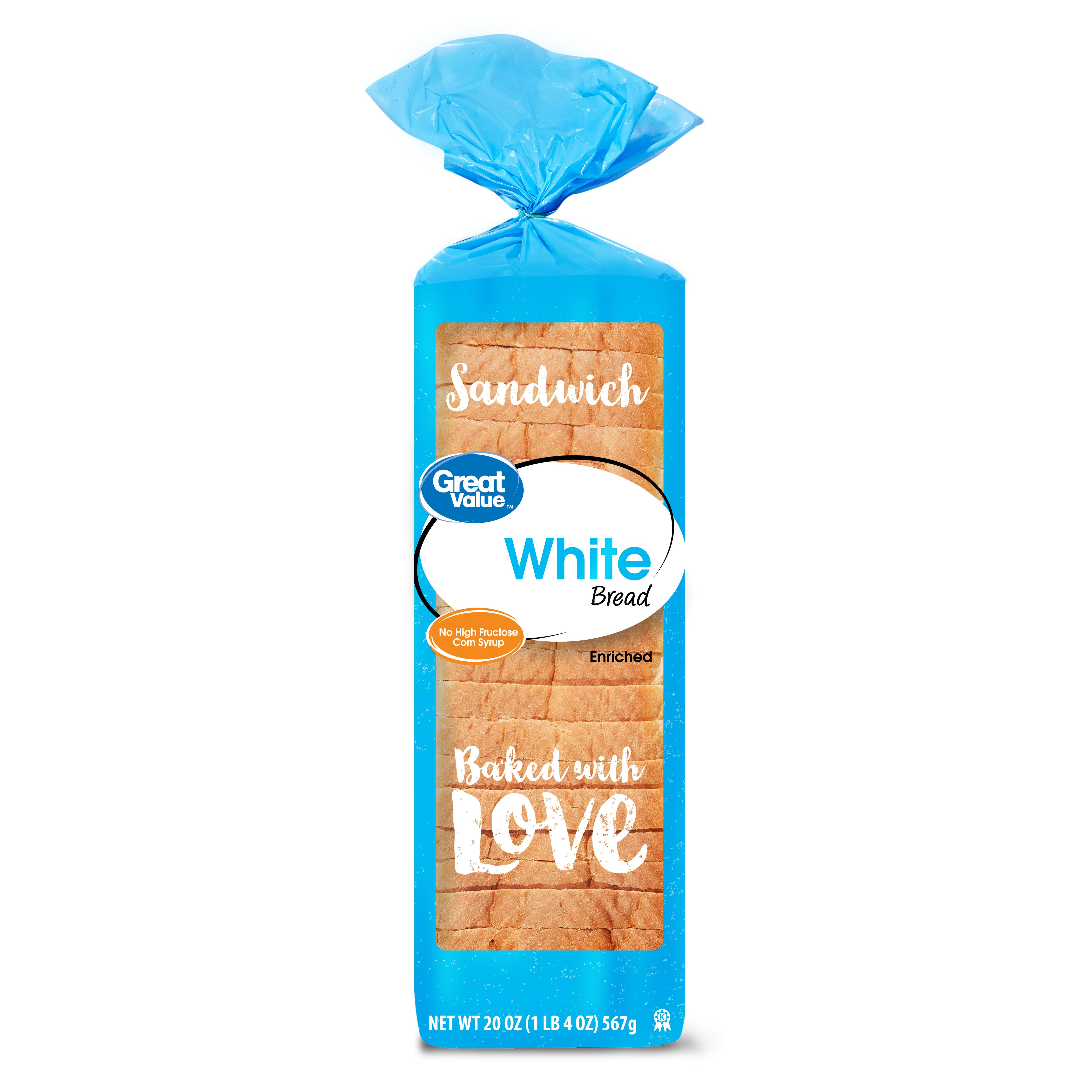Great Value White Bread, Round Top, 20 oz