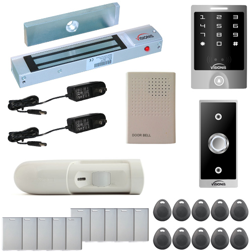 Visionis FPC-5281 One Door Access Control Out Swinging Door 300lbs Maglock with VIS-3000 Outdoor Weather proof Keypad / Reader Standalone No Software EM Card Compatible With PIR Kit
