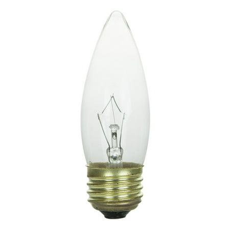 - 60w 120v Candelabra E26 Medium base Torpedo Clear bulbs
