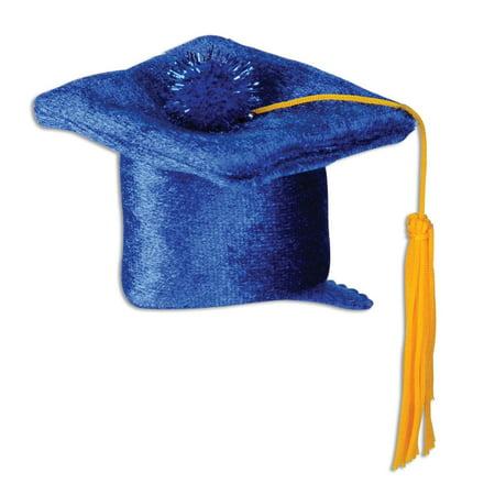 Club Pack of 12 Blue Plush Grad Cap Hair Clip Party Favor Costume Accessories