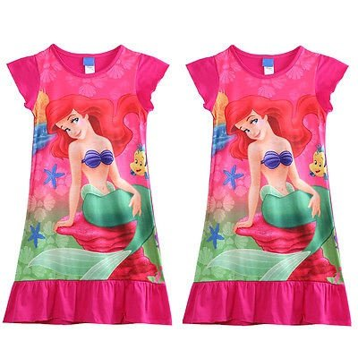 Hot New Little Mermaid Ariel Short Mini Dress Princess Girl Kids Pyjama Night Dress (Dresses For Children To Wear To A Wedding)