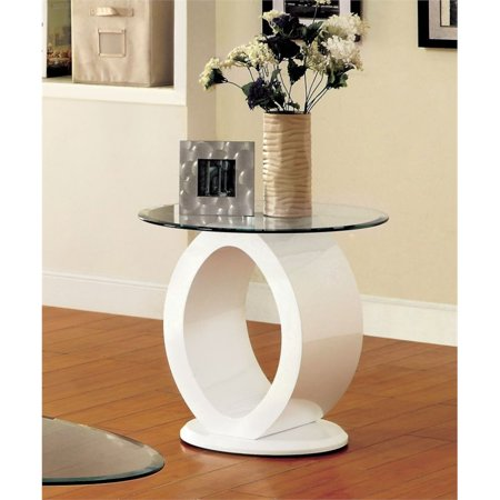 Maxon Furniture Wall Connector - Furniture of America Mason Round Glass Top End Table in White