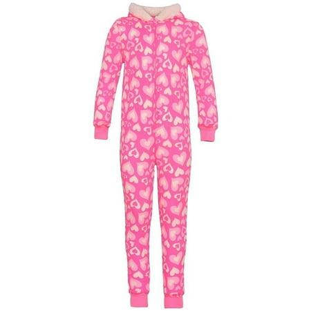 dELiA s girl - Little Girls Hot Pink Heart Print Zipper Pom-Pom Hooded  Sleeper Pajama - Walmart.com 0404bb200