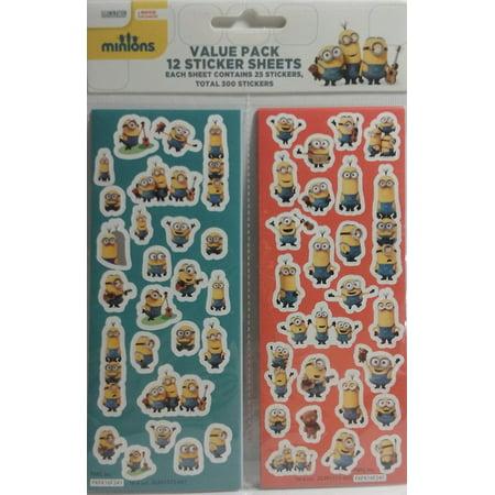 Minions 12 Sticker Sheets Party Favors, Minions 12 Sticker Sheets Party Favors By Stickerfitti (Minion Favors)