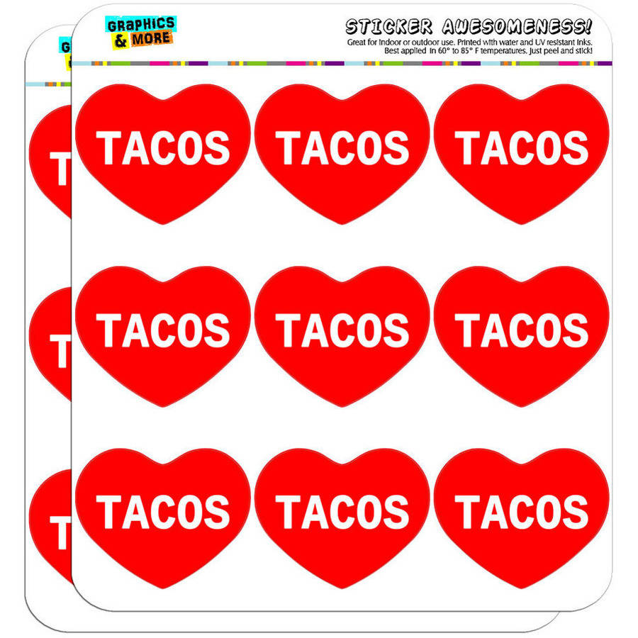 "I Love Heart Tacos 18 2"" Planner Calendar Scrapbooking Crafting Stickers"