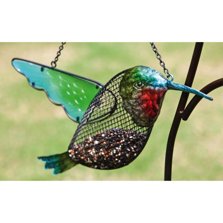 Hummingbird Metal - Evergreen Enterprises Hummingbird Metal and Glass Birdfeeder