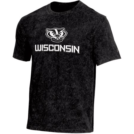 Men's Russell Black Wisconsin Badgers Classic Fit Enzyme Wash T-Shirt
