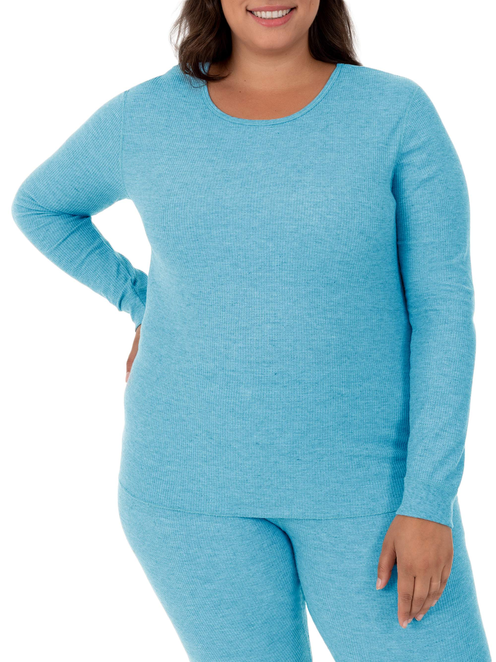Fit for Me by Fruit of the Loom Women's and Women's Plus Size Waffle Thermal Underwear Crew Top